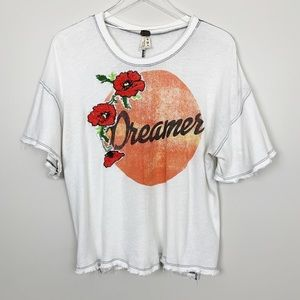 Free People | Dreamer Tee Graphic Embroidered M